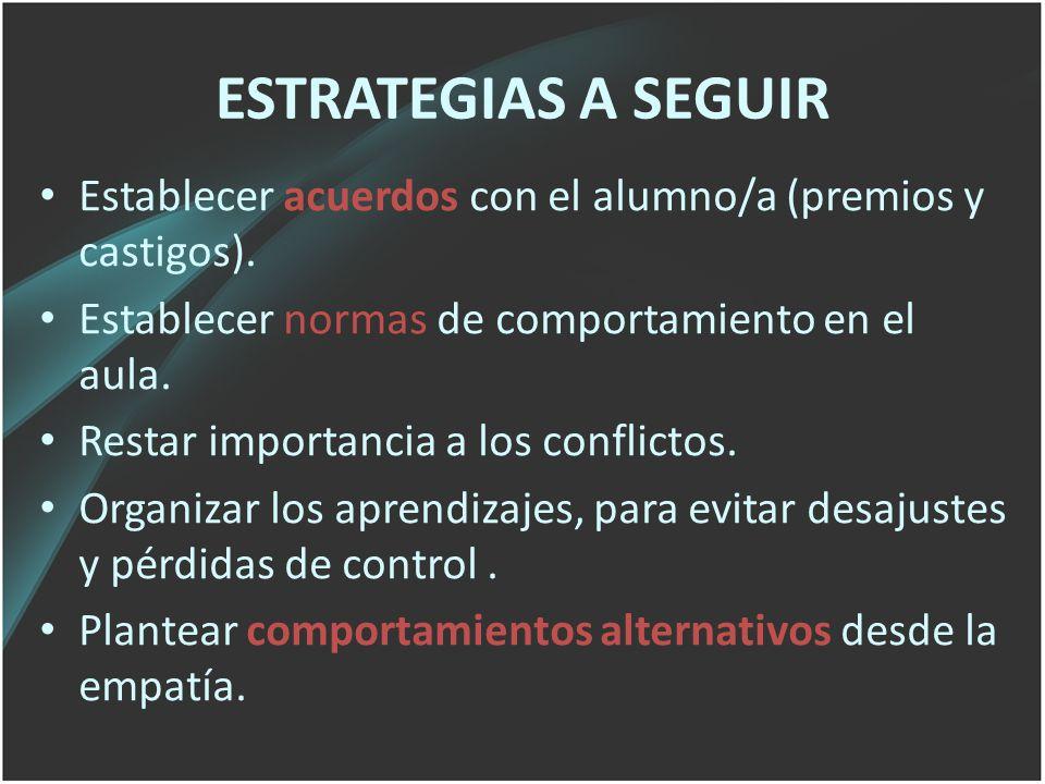 ESTRATEGIAS A SEGUIR Establecer acuerdos con el alumno/a (premios y castigos). Establecer normas de comportamiento en el aula.