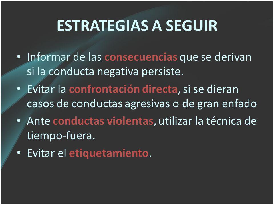 ESTRATEGIAS A SEGUIR Informar de las consecuencias que se derivan si la conducta negativa persiste.