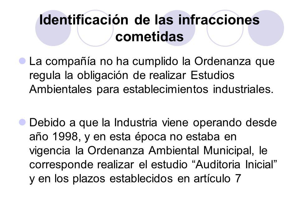 Identificación de las infracciones cometidas
