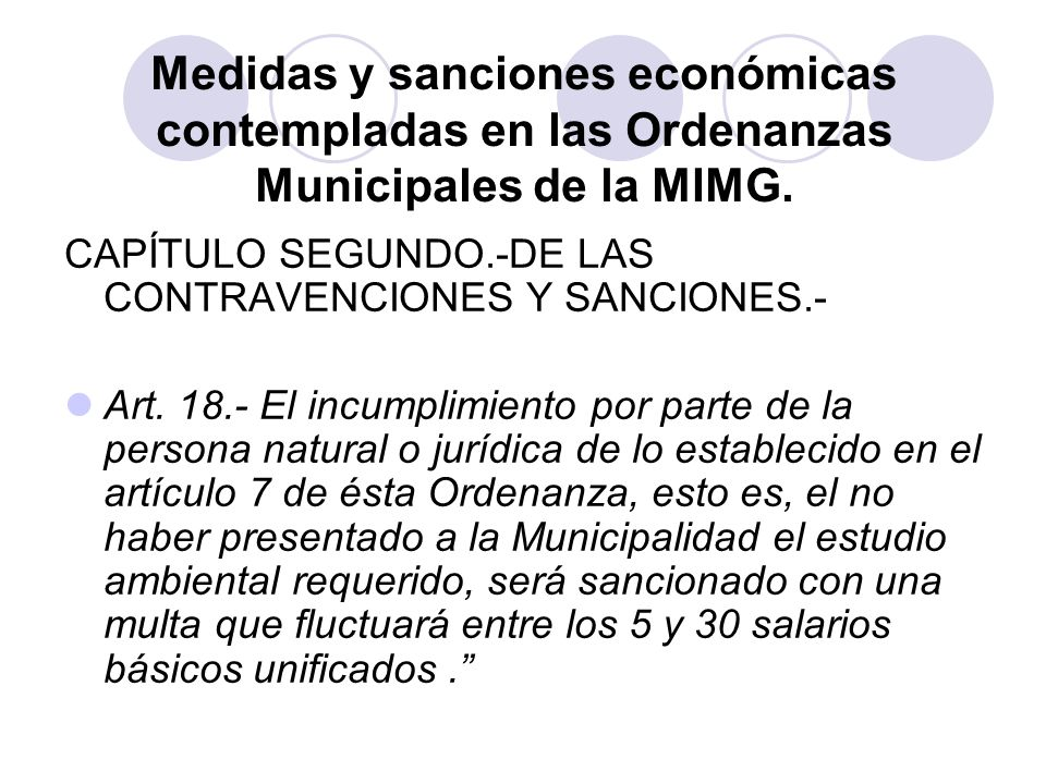 Medidas y sanciones económicas contempladas en las Ordenanzas Municipales de la MIMG.