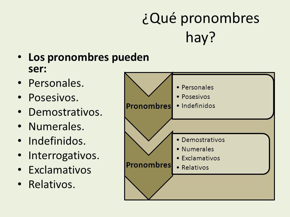 ¿Qué pronombres hay Los pronombres pueden ser: Personales. Posesivos.