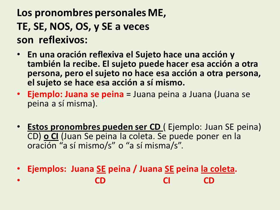 Los pronombres personales ME, TE, SE, NOS, OS, y SE a veces son reflexivos: