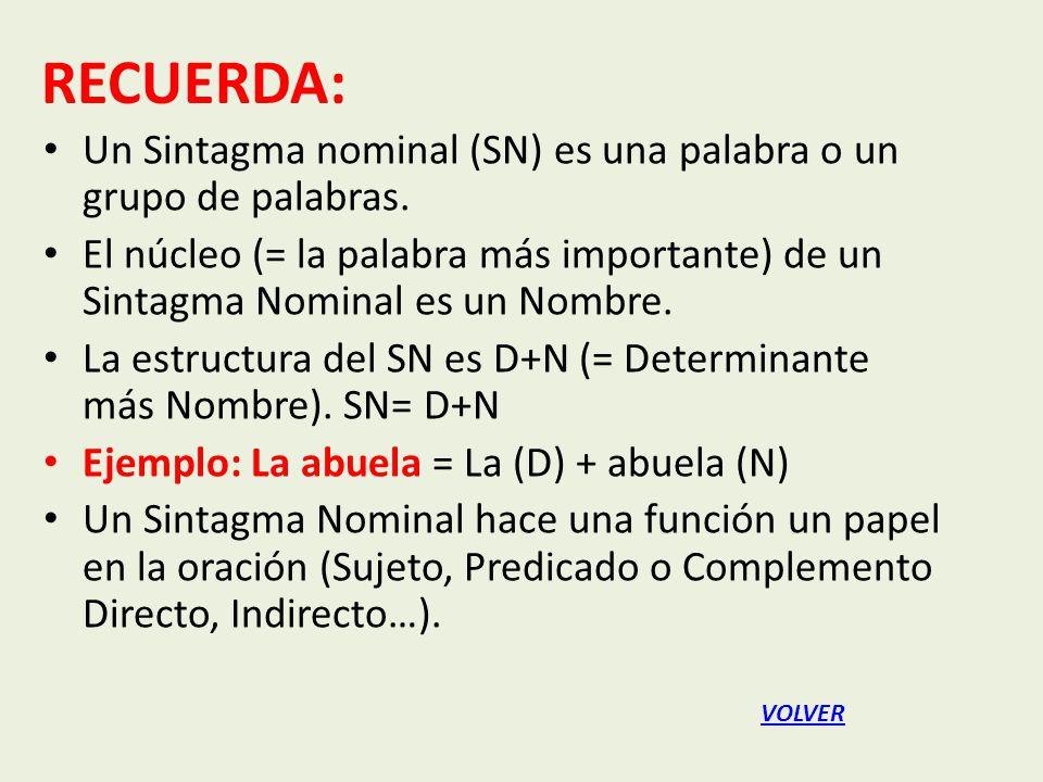 RECUERDA: Un Sintagma nominal (SN) es una palabra o un grupo de palabras.