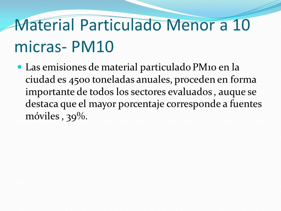 Material Particulado Menor a 10 micras- PM10