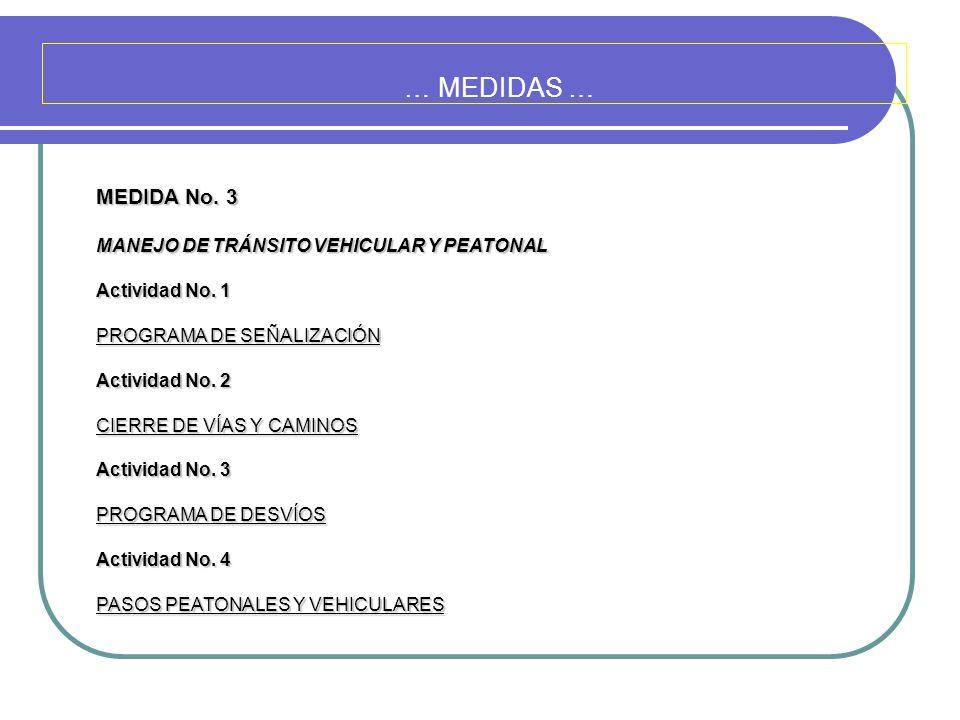 … MEDIDAS … MEDIDA No. 3 MANEJO DE TRÁNSITO VEHICULAR Y PEATONAL