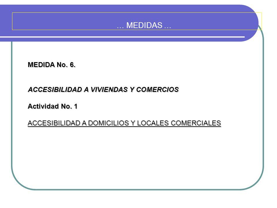 … MEDIDAS … MEDIDA No. 6. ACCESIBILIDAD A VIVIENDAS Y COMERCIOS