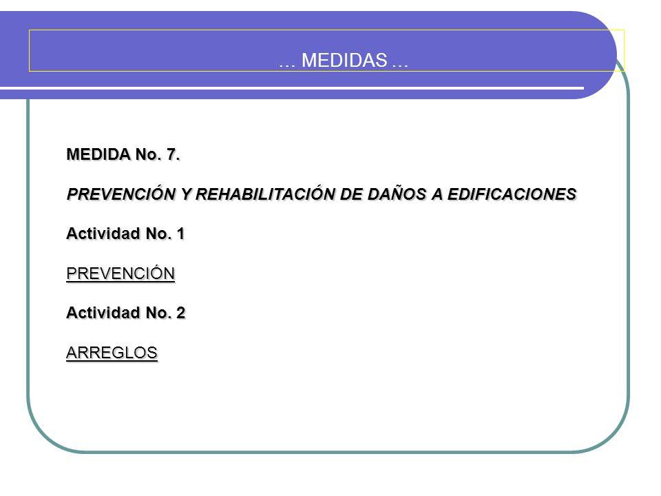… MEDIDAS … MEDIDA No. 7. PREVENCIÓN Y REHABILITACIÓN DE DAÑOS A EDIFICACIONES. Actividad No. 1. PREVENCIÓN.
