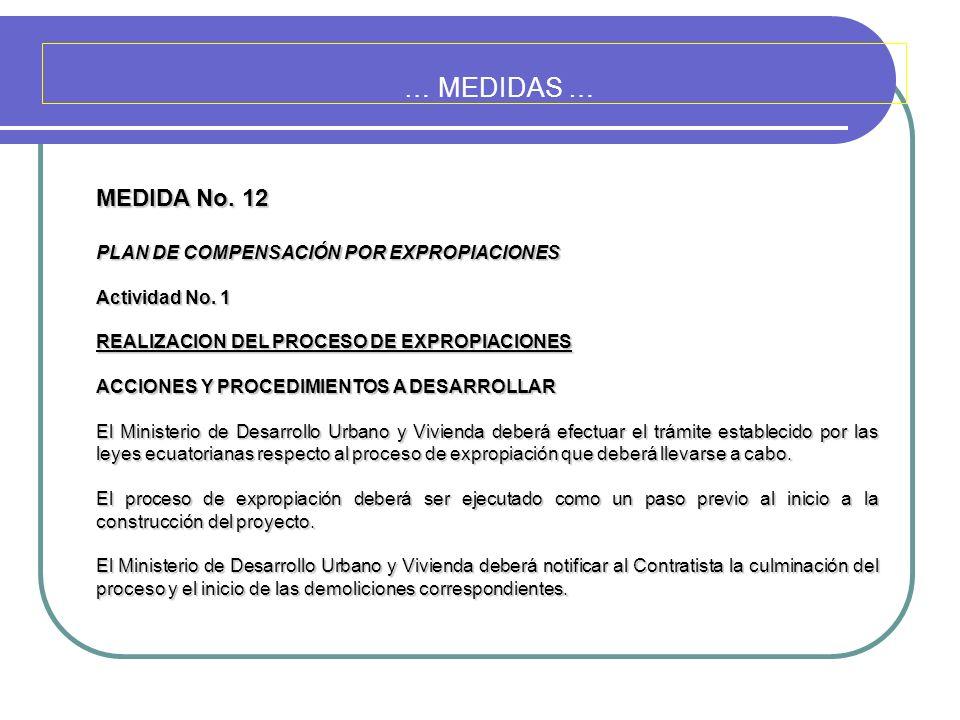 … MEDIDAS … MEDIDA No. 12 PLAN DE COMPENSACIÓN POR EXPROPIACIONES
