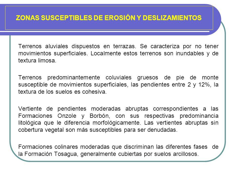 ZONAS SUSCEPTIBLES DE EROSIÓN Y DESLIZAMIENTOS