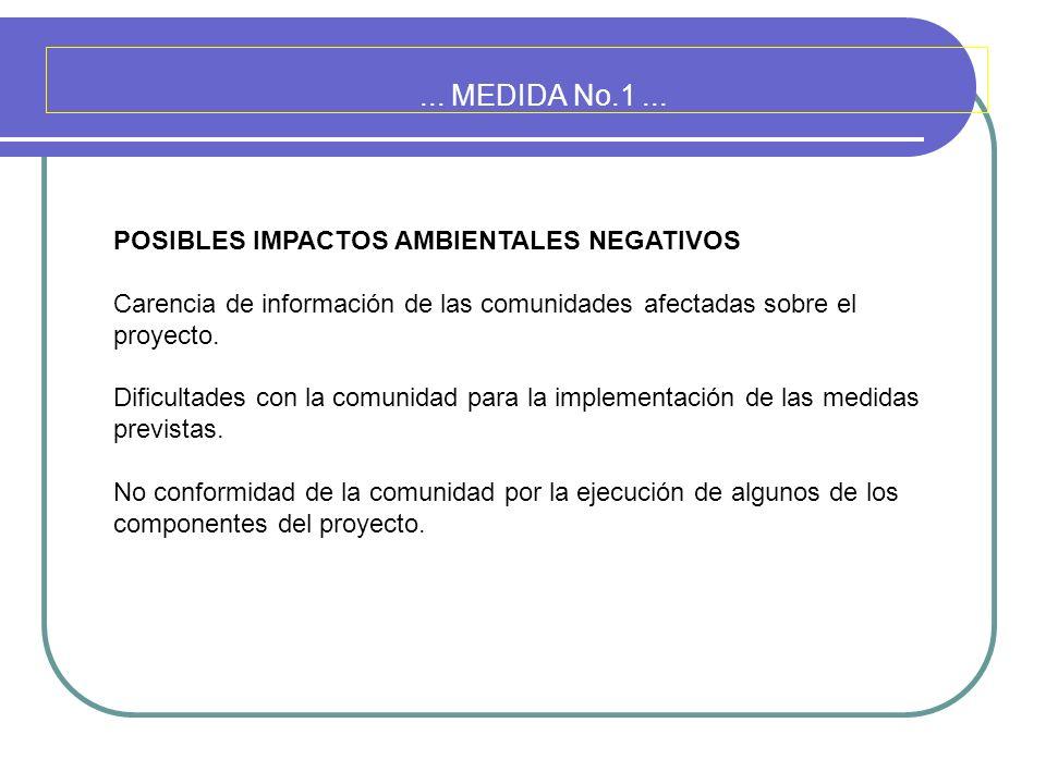 ... MEDIDA No.1 ... POSIBLES IMPACTOS AMBIENTALES NEGATIVOS
