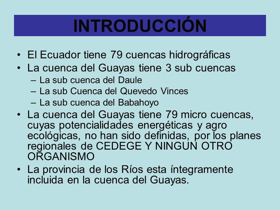 INTRODUCCIÓN El Ecuador tiene 79 cuencas hidrográficas