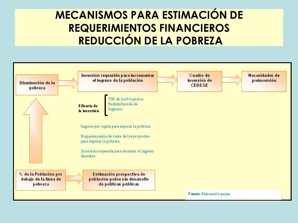 MECANISMOS PARA ESTIMACIÓN DE REQUERIMIENTOS FINANCIEROS REDUCCIÓN DE LA POBREZA