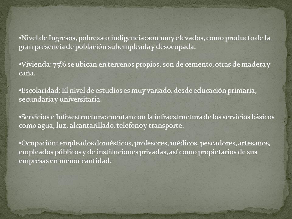 Nivel de Ingresos, pobreza o indigencia: son muy elevados, como producto de la gran presencia de población subempleada y desocupada.