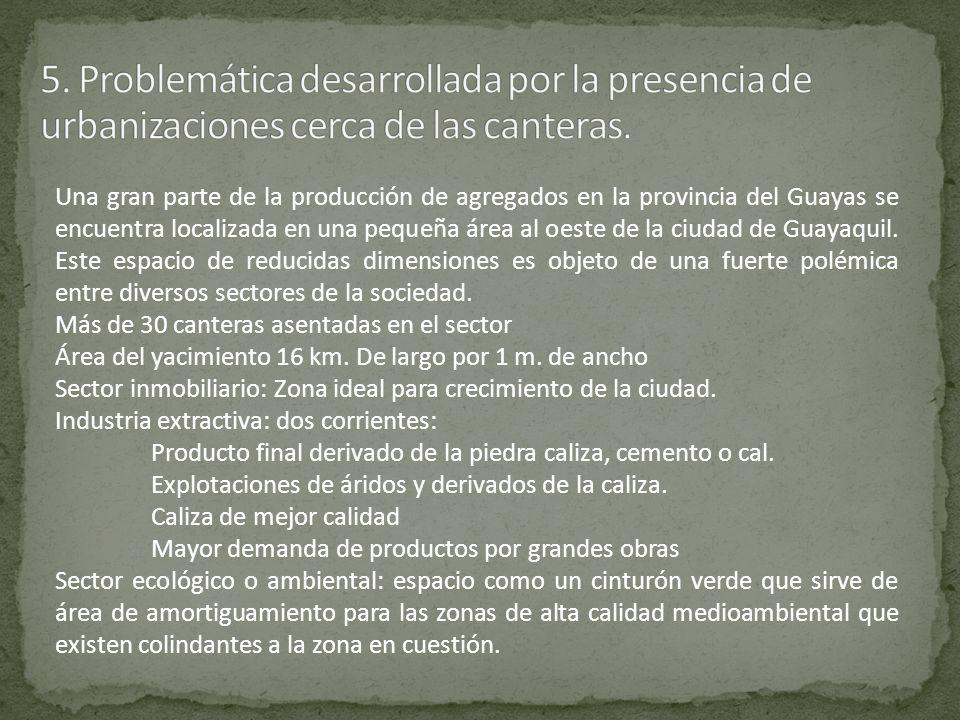 5. Problemática desarrollada por la presencia de urbanizaciones cerca de las canteras.
