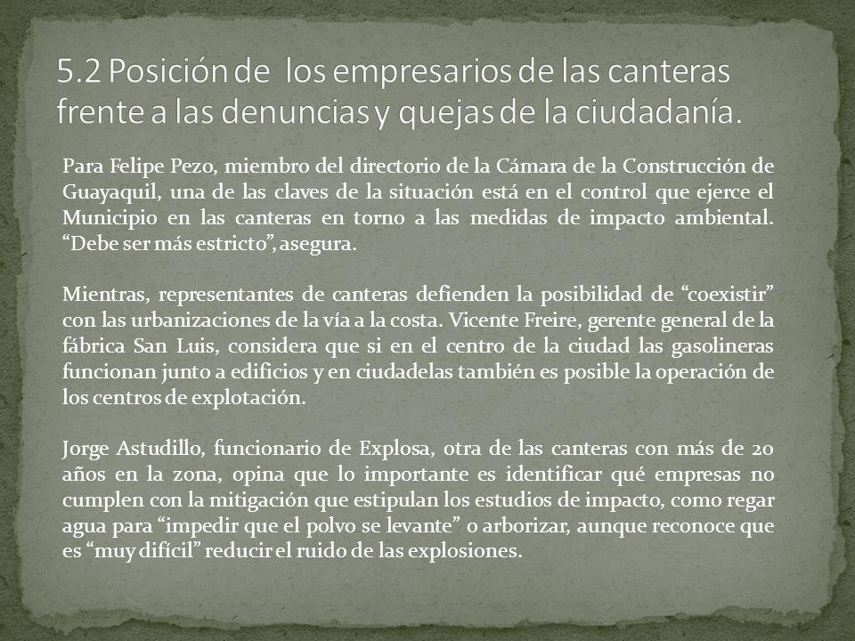 5.2 Posición de los empresarios de las canteras frente a las denuncias y quejas de la ciudadanía.