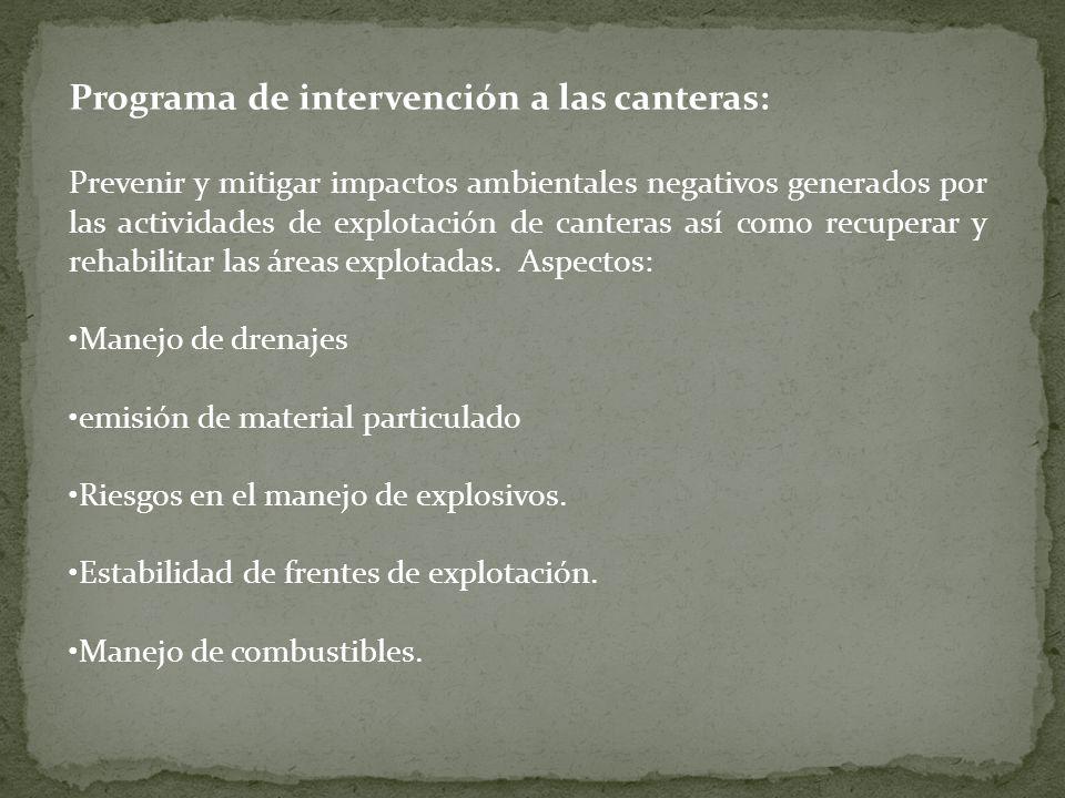 Programa de intervención a las canteras: