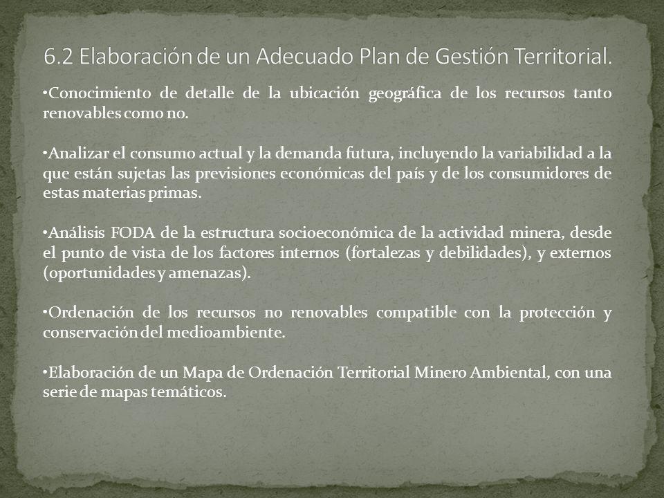 6.2 Elaboración de un Adecuado Plan de Gestión Territorial.