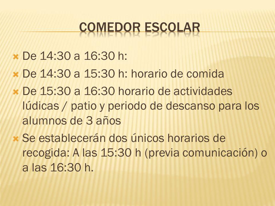 COMEDOR ESCOLAR De 14:30 a 16:30 h: