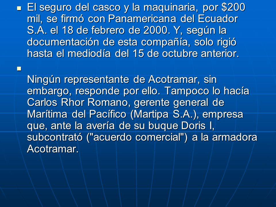 El seguro del casco y la maquinaria, por $200 mil, se firmó con Panamericana del Ecuador S.A. el 18 de febrero de 2000. Y, según la documentación de esta compañía, solo rigió hasta el mediodía del 15 de octubre anterior.