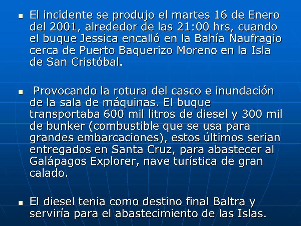 El incidente se produjo el martes 16 de Enero del 2001, alrededor de las 21:00 hrs, cuando el buque Jessica encalló en la Bahía Naufragio cerca de Puerto Baquerizo Moreno en la Isla de San Cristóbal.