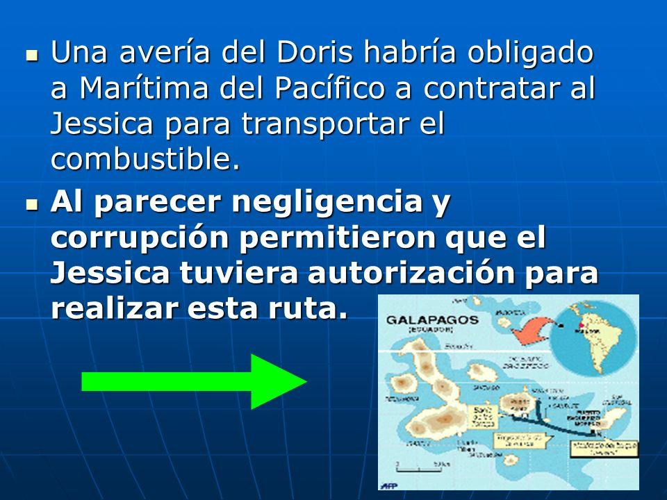 Una avería del Doris habría obligado a Marítima del Pacífico a contratar al Jessica para transportar el combustible.