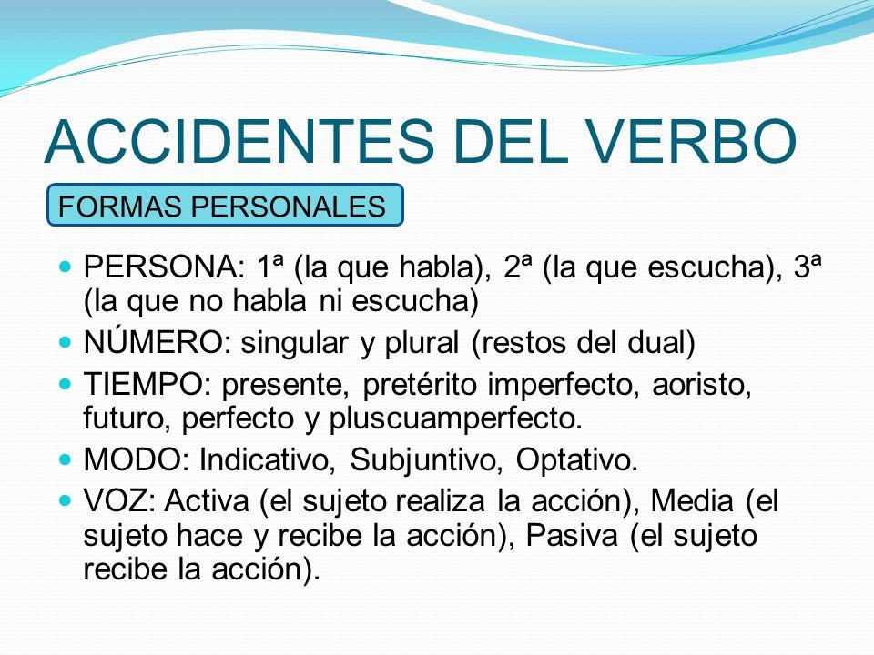 ACCIDENTES DEL VERBO FORMAS PERSONALES. PERSONΑ: 1ª (la que habla), 2ª (la que escucha), 3ª (la que no habla ni escucha)
