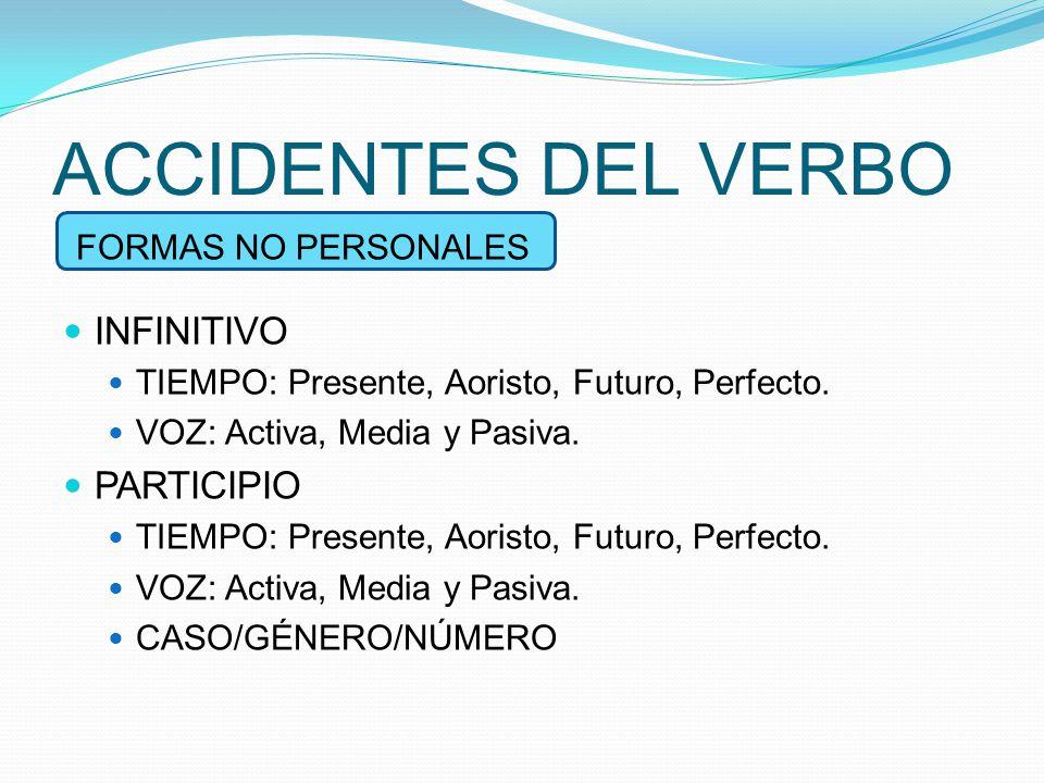 ACCIDENTES DEL VERBO INFINITIVO PARTICIPIO FORMAS NO PERSONALES