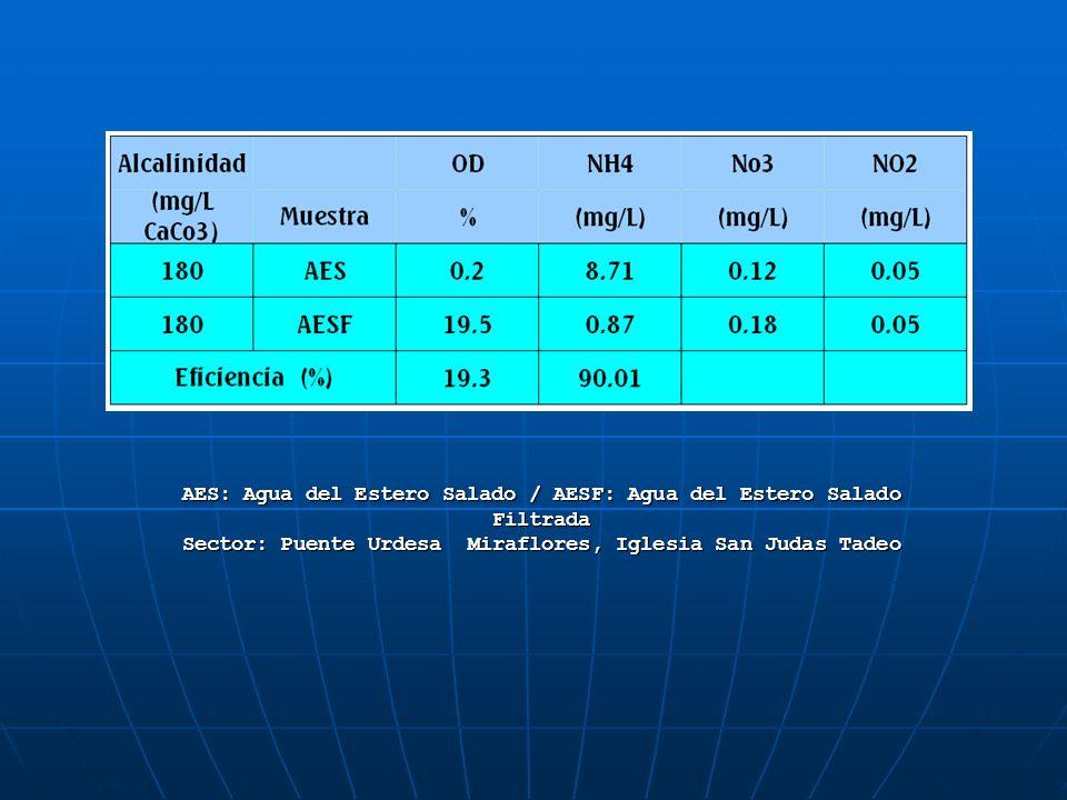 AES: Agua del Estero Salado / AESF: Agua del Estero Salado Filtrada