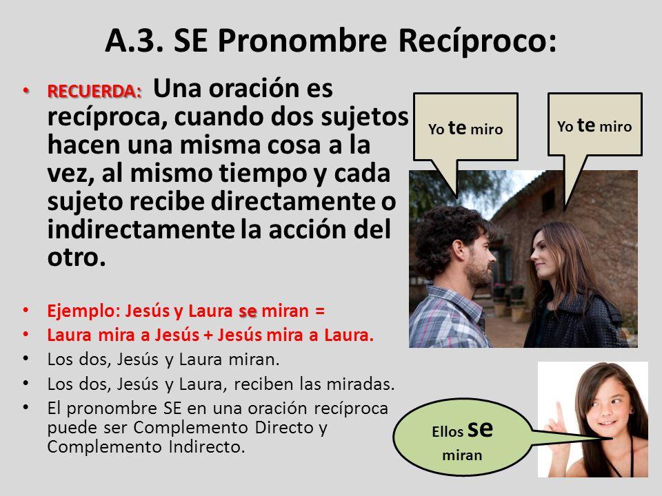 A.3. SE Pronombre Recíproco: