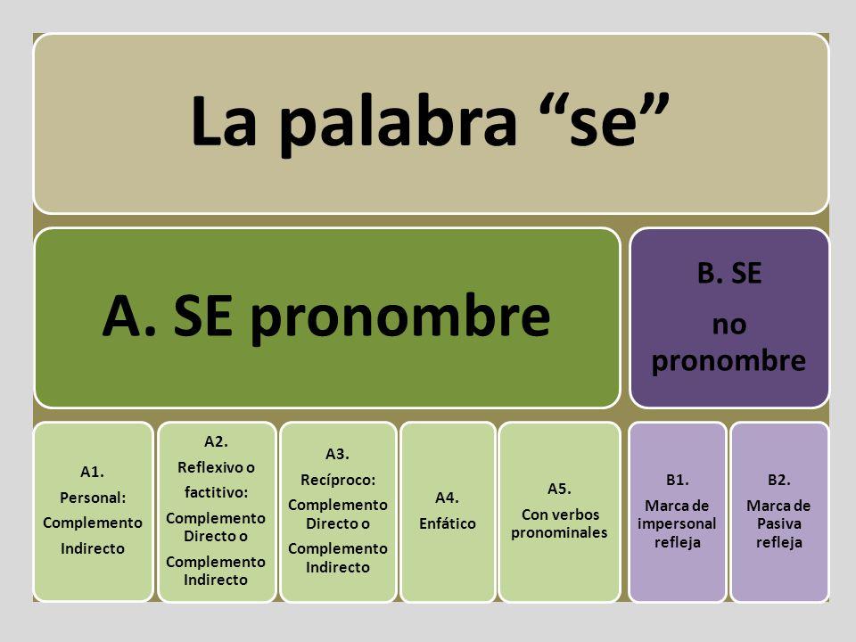 A. SE pronombre B. SE no pronombre A1. Personal: Complemento Indirecto