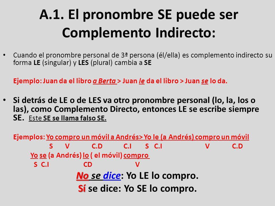 A.1. El pronombre SE puede ser Complemento Indirecto: