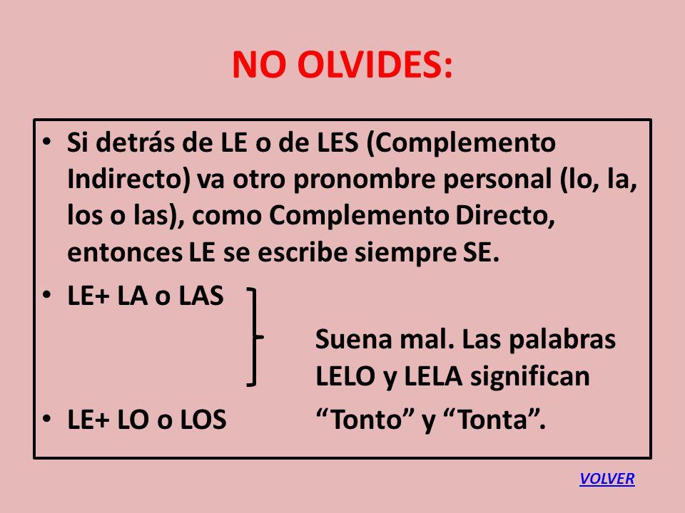 NO OLVIDES: