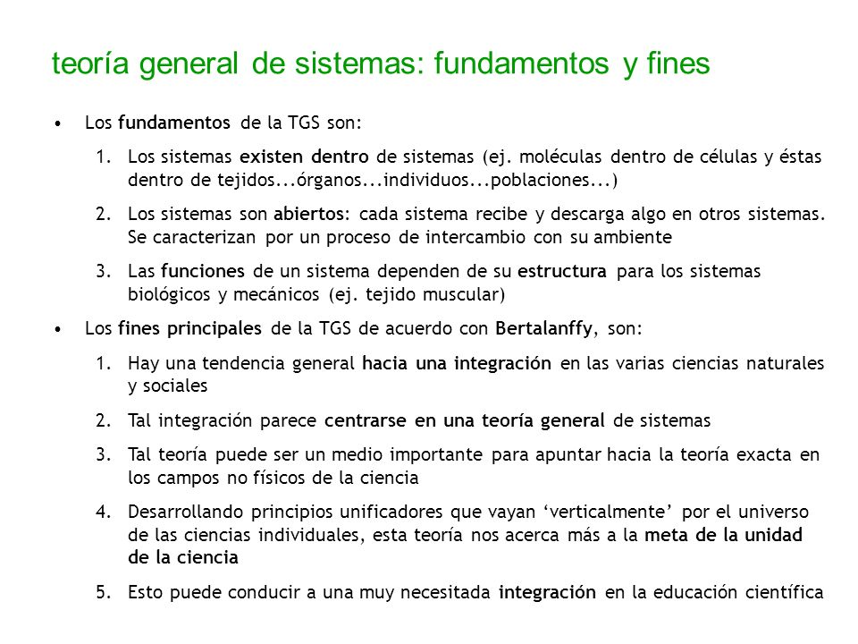 teoría general de sistemas: fundamentos y fines