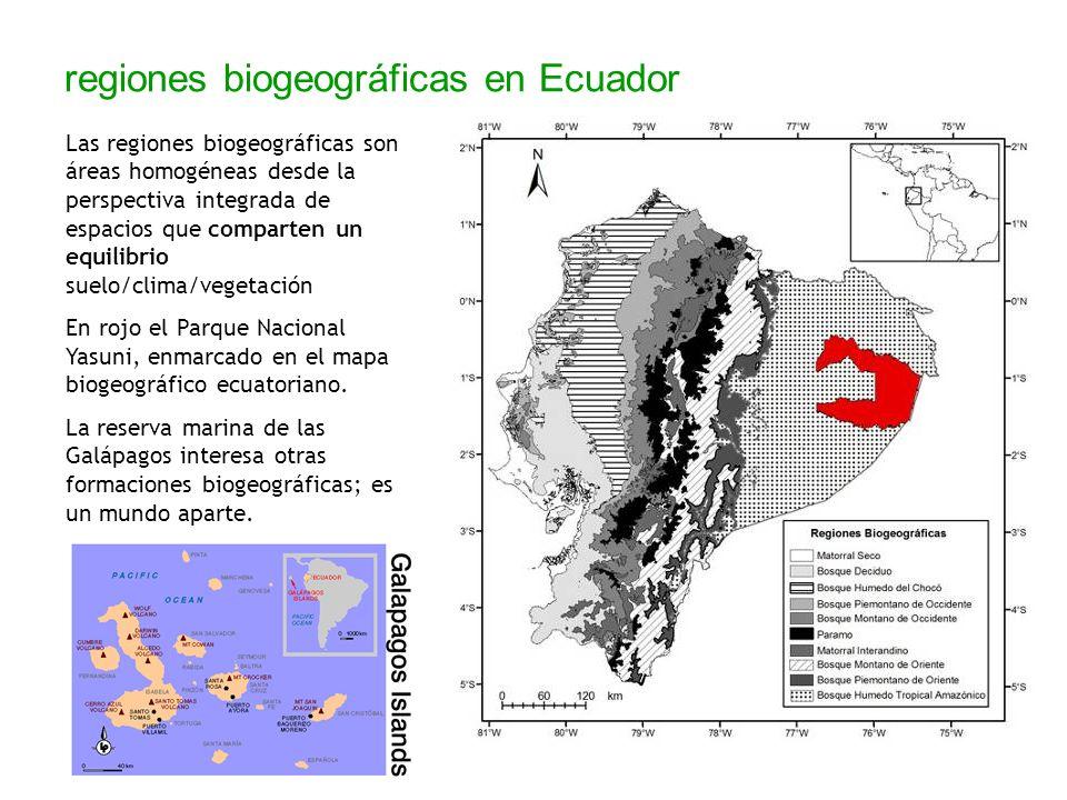 regiones biogeográficas en Ecuador