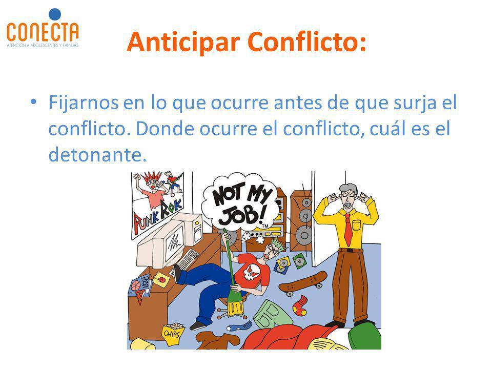Anticipar Conflicto: Fijarnos en lo que ocurre antes de que surja el conflicto.