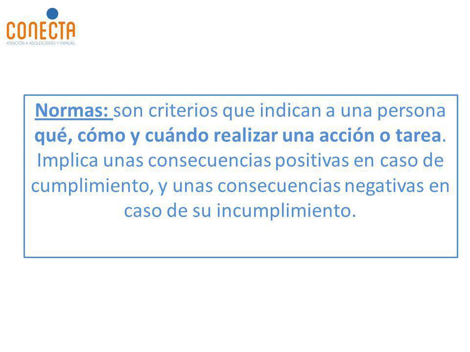 Normas: son criterios que indican a una persona qué, cómo y cuándo realizar una acción o tarea.