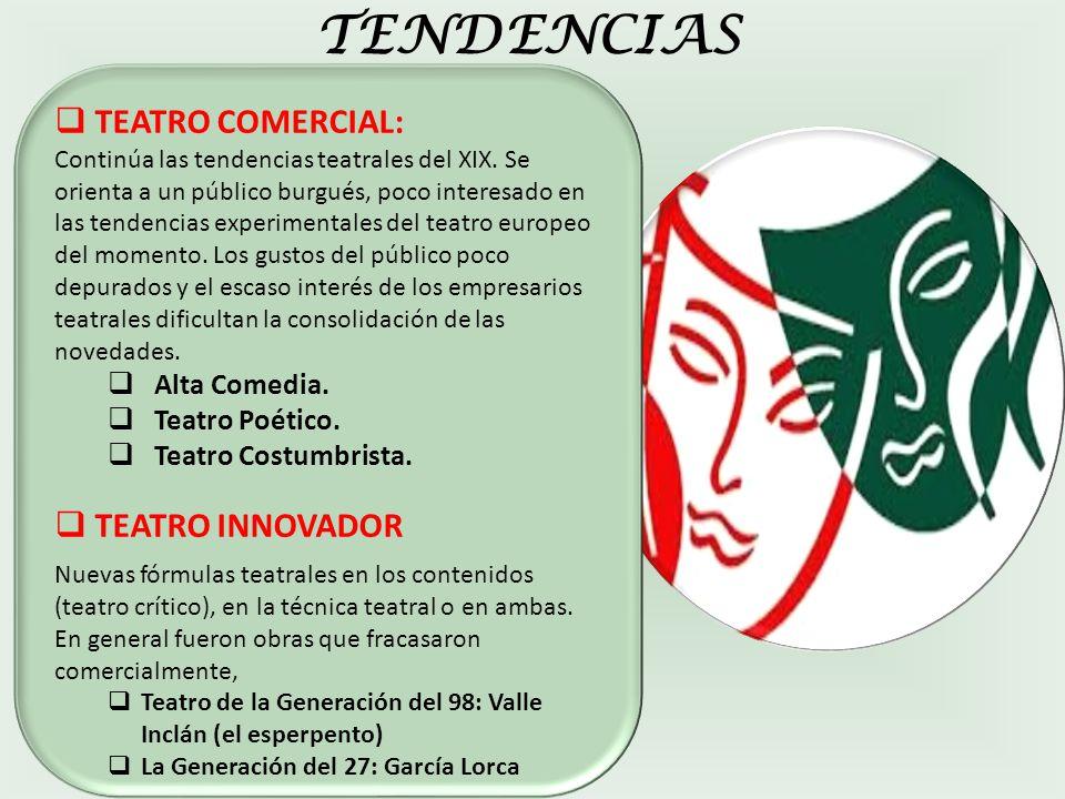 TENDENCIAS TEATRO COMERCIAL: TEATRO INNOVADOR Alta Comedia.