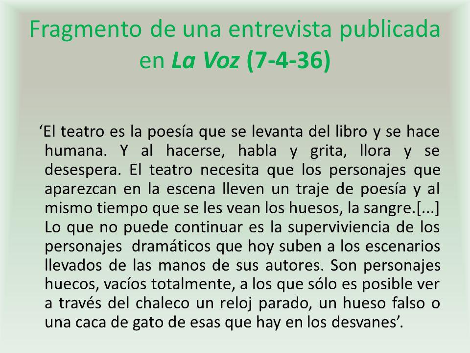 Fragmento de una entrevista publicada en La Voz (7-4-36)