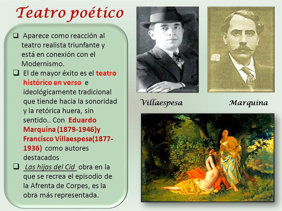 Teatro poético Aparece como reacción al teatro realista triunfante y está en conexión con el Modernismo.