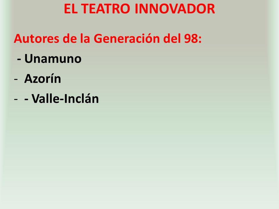 EL TEATRO INNOVADOR Autores de la Generación del 98: - Unamuno Azorín