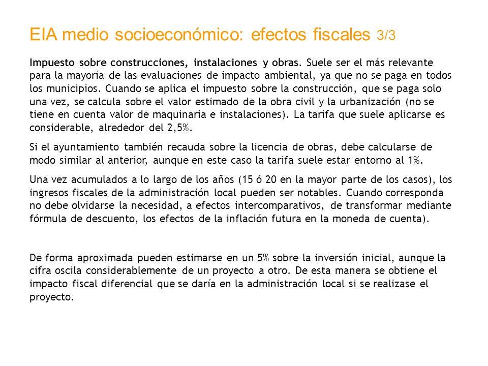 EIA medio socioeconómico: efectos fiscales 3/3