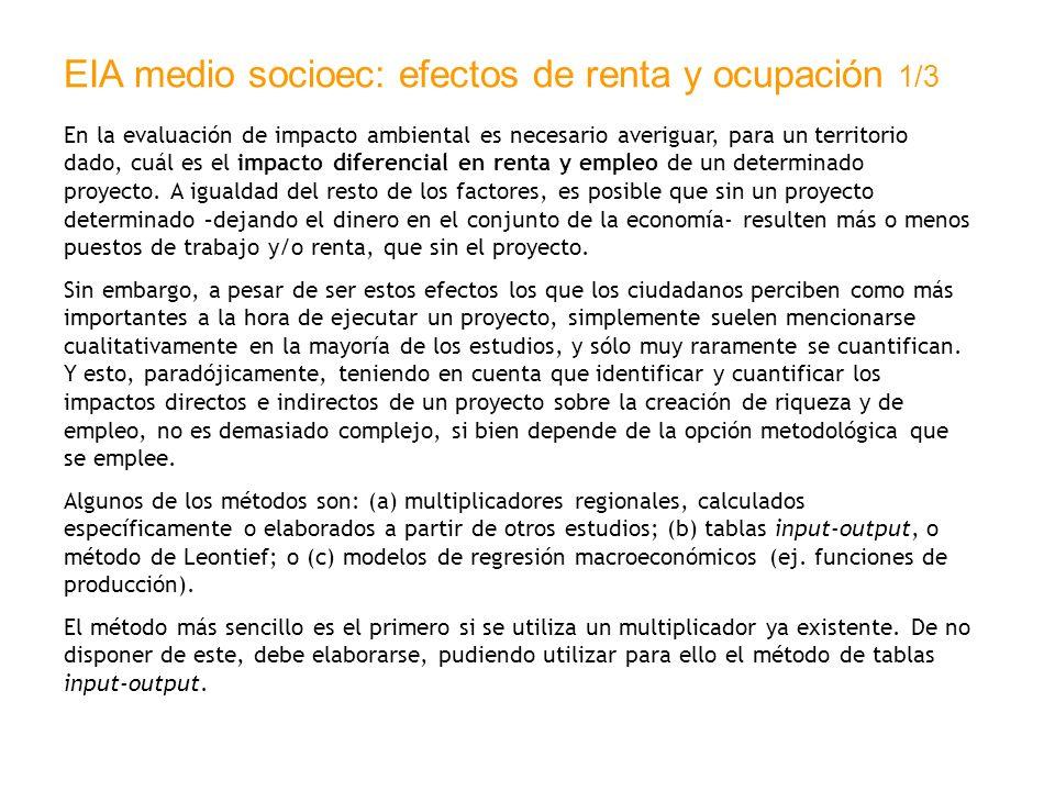 EIA medio socioec: efectos de renta y ocupación 1/3