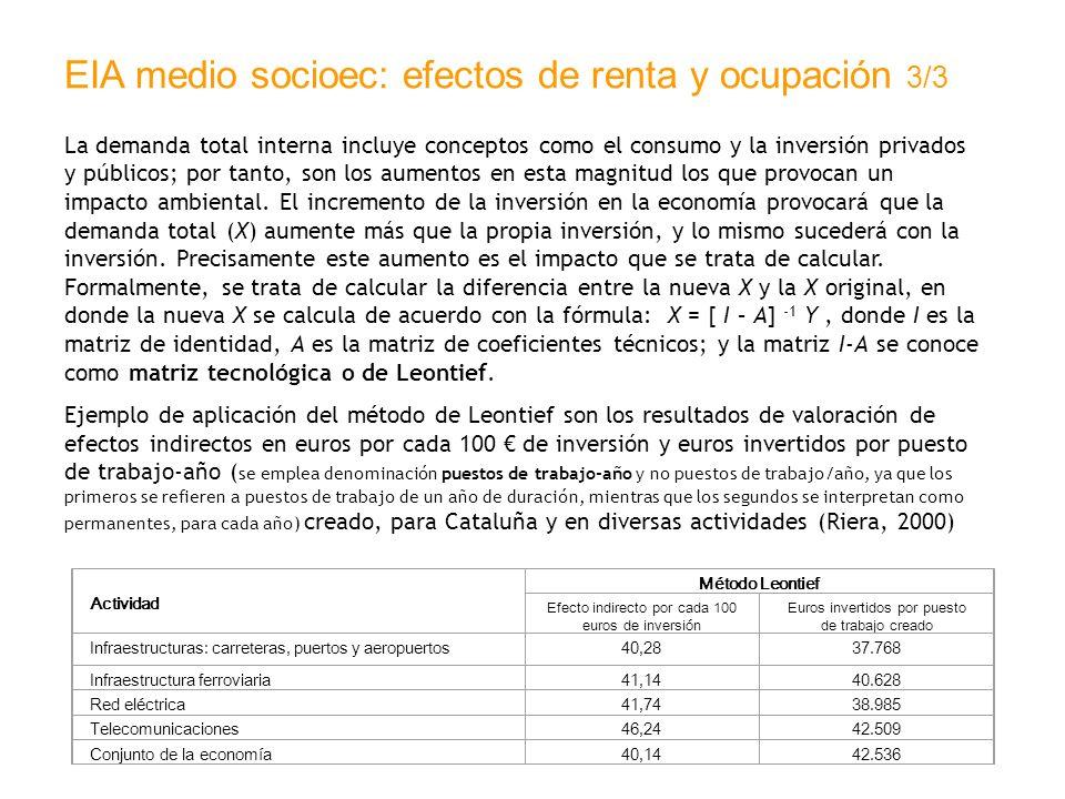 EIA medio socioec: efectos de renta y ocupación 3/3