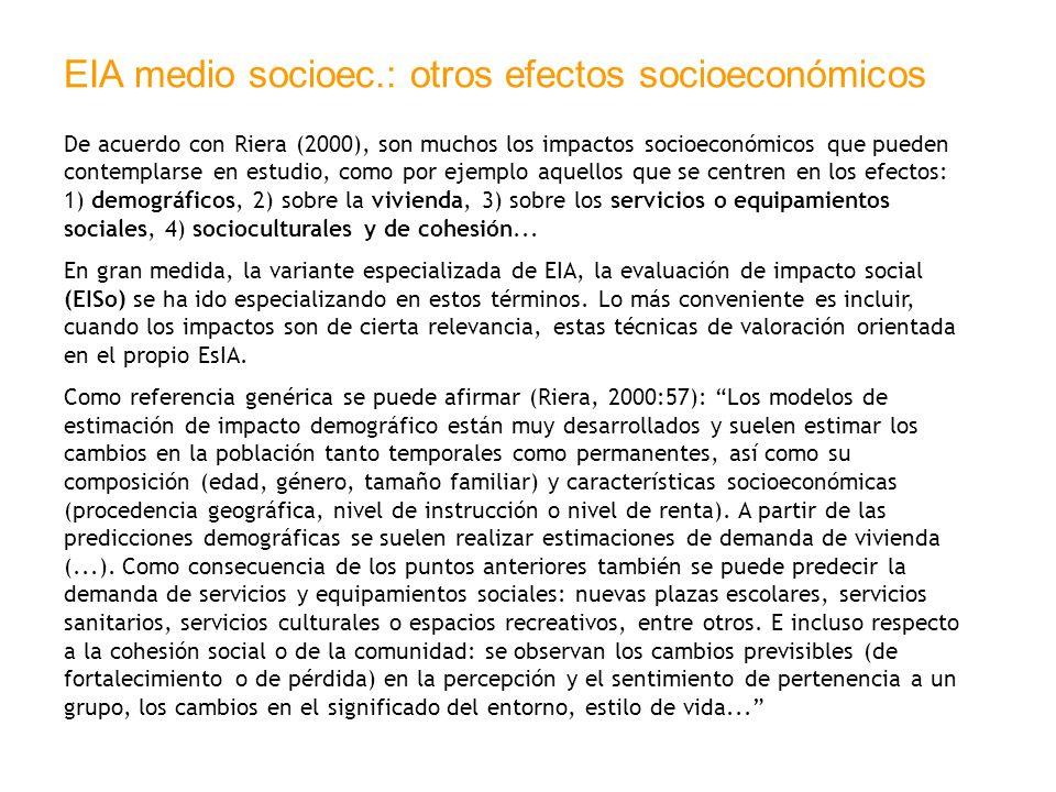 EIA medio socioec.: otros efectos socioeconómicos