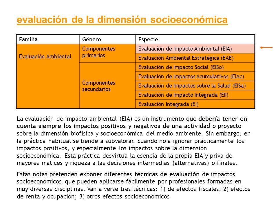 evaluación de la dimensión socioeconómica