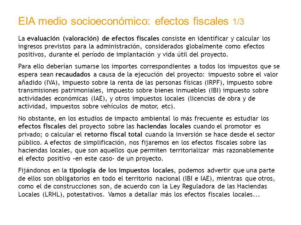 EIA medio socioeconómico: efectos fiscales 1/3