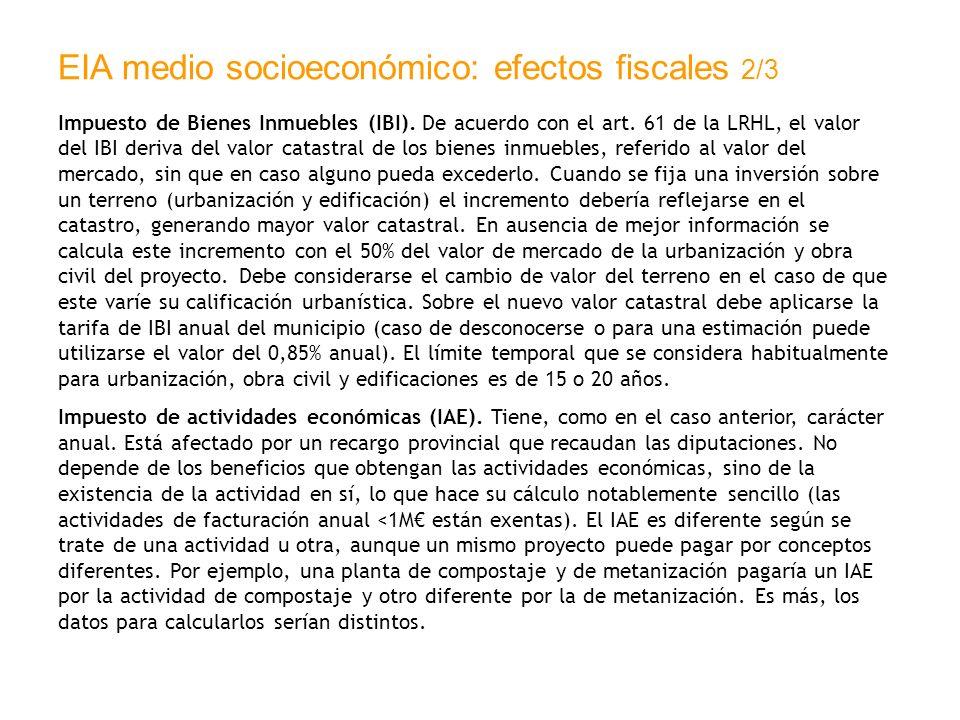 EIA medio socioeconómico: efectos fiscales 2/3