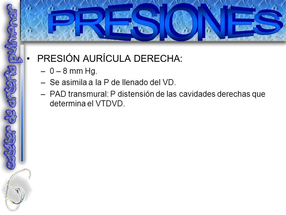 PRESIONES PRESIÓN AURÍCULA DERECHA: 0 – 8 mm Hg.
