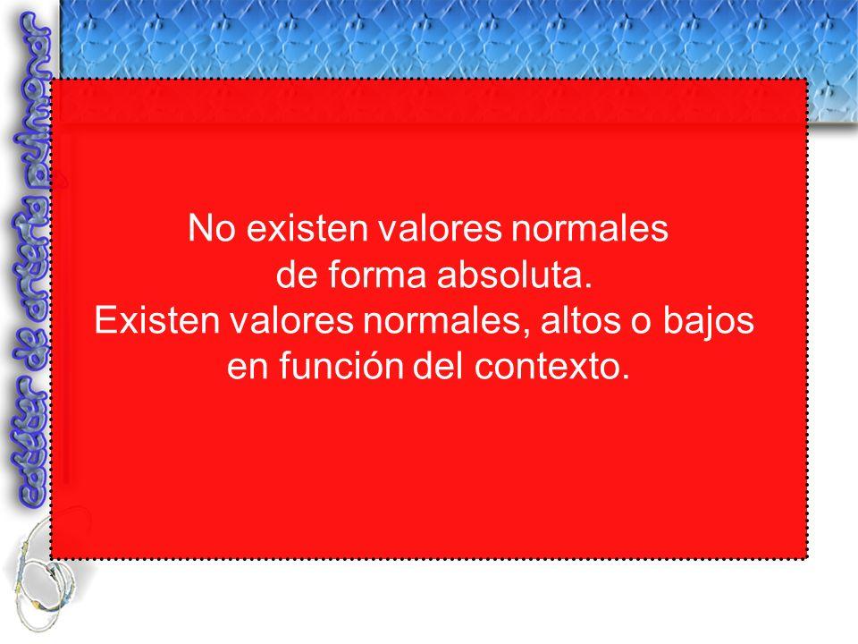No existen valores normales de forma absoluta.