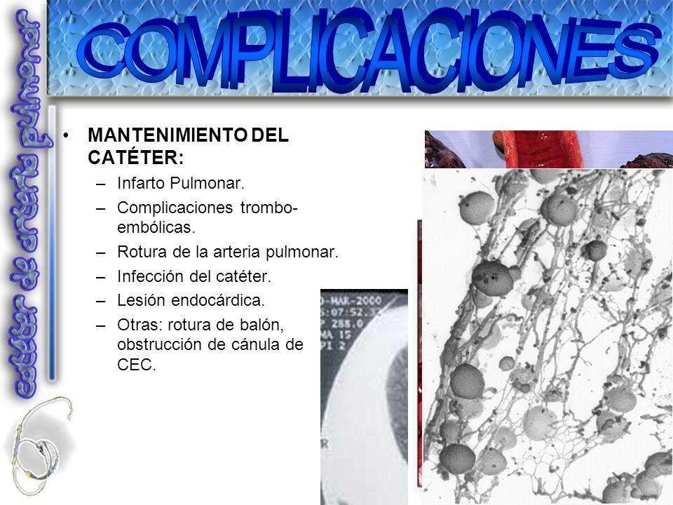 COMPLICACIONES MANTENIMIENTO DEL CATÉTER: Infarto Pulmonar.
